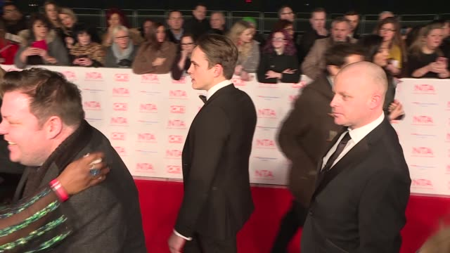 national television awards 2018 red carpet and winners' room england london throughout*** various gvs of celebrities on red carpet including joel... - phillip schofield stock videos and b-roll footage