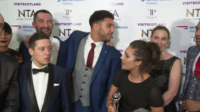 national television awards 2019: red carpet and winner's room interviews; england: london: greenwich: the o2 arena: int emmerdale cast interview sot - soap opera stock videos & royalty-free footage