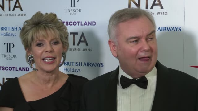 national television awards 2019: red carpet and winner's room interviews; england: london: greenwich: the o2 arena: int ruth langsford and eamonn... - フィリップ スコフィールド点の映像素材/bロール