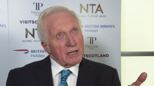national television awards 2019: red carpet and winner's room interviews; england: london: greenwich: the o2 arena: int david dimbleby interview sot - david dimbleby stock videos & royalty-free footage
