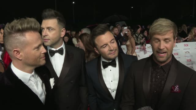 national television awards 2019 red carpet arrivals england london the o2 arena westlife speaking to press / westlife boyband nicky byrne markus... - paul o'grady stock-videos und b-roll-filmmaterial