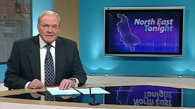 New presenter Mike Neville dies FILE INT Various of presenter Mike Neville presenting 'Noth East Tonoght' news programme