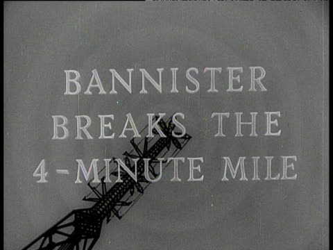 Television news aston featuring transmitter broadcasting announcement Bannister breaks the 4 minute mile 6 May 1954