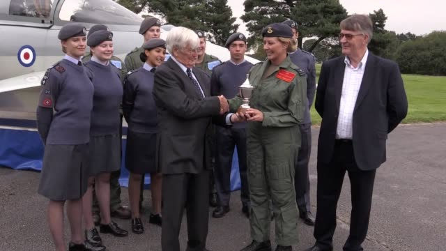 Television personality Carol Vorderman an honorary Group Captain and ambassador for the RAF Air Cadets is given an award to recognise her work...