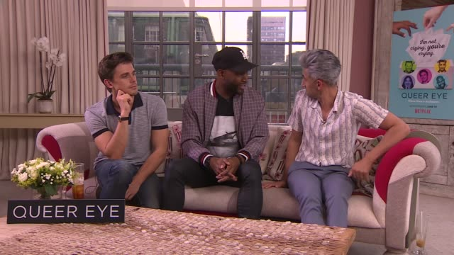 vídeos de stock, filmes e b-roll de 'queer eye' season 2 launch: interviews; england: london int antoni porowski, karamo brown and tan france interview sot - re new series of 'queer eye' - karamo brown