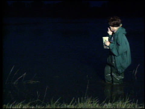 / television reporter colleen burns doing standup shot anf forgets where she is / reporter standing in water and screaming as fish attacks her... - ngクリップ点の映像素材/bロール