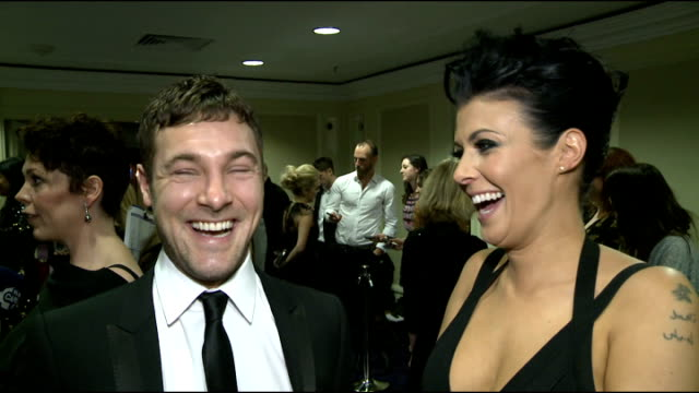rts programme awards 2013 interviews olivia coleman interview sot / kym marsh and mark baylis interview sot / coleman chatting to press / actress... - actress stock videos & royalty-free footage