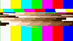 Television screen error. SMPTE color bars technical problems.Color Bars data glitches. Ð¡olor bars experiencing technical difficulties, being distorted with data glitches, dropped pixels, signal interference and other digital anomalies.
