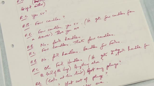 script for famous two ronnies 'four candles' sketch to be auctioned england bristol east bristol auctions int close shot of hand written script for... - bristol england stock-videos und b-roll-filmmaterial