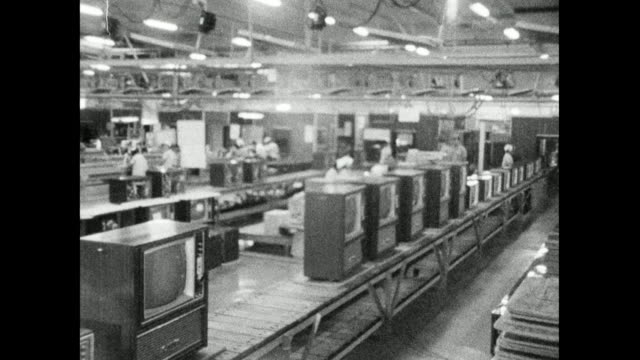 television sets at end of production line in japan; 1966 - 科学技術点の映像素材/bロール