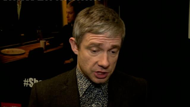 sherlock interviews martin freeman interview sot - martin freeman stock videos and b-roll footage