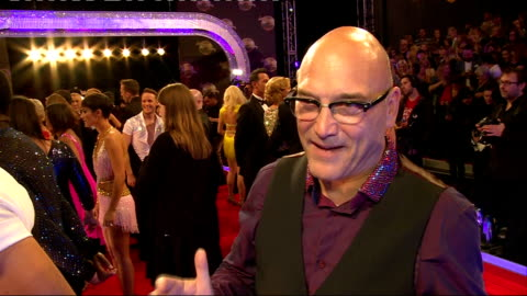 strictly come dancing 2014 launch: launch and interviews; lukosiute interview sot - does her signature dance move / gregg wallace interview sot - on... - gregg wallace video stock e b–roll