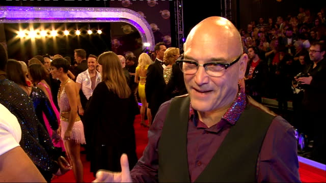 strictly come dancing 2014 launch: launch and interviews; lukosiute interview sot - does her signature dance move / gregg wallace interview sot - on... - gregg wallace stock videos & royalty-free footage