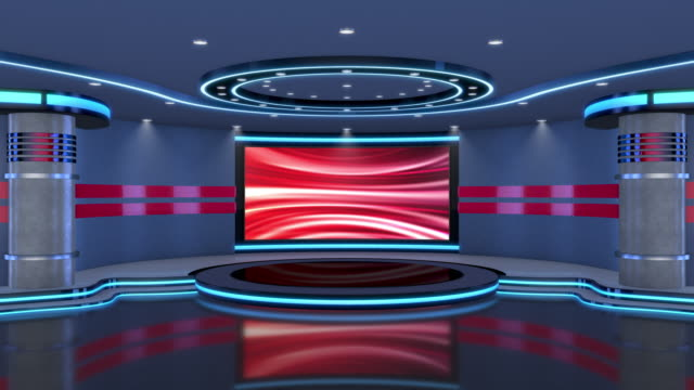 television studio, virtual studio set. ideal for green screen compositing. tracking markers provided for movement and screen replacement. - press room stock videos & royalty-free footage