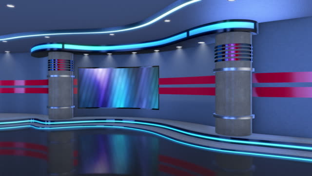 television studio, virtual studio set. ideal for green screen compositing. tracking markers provided for movement and screen replacement. - stage set stock videos & royalty-free footage