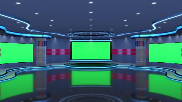vídeos y material grabado en eventos de stock de estudio de televisión, estudio virtual. ideal para la composición de pantalla verde. marcadores de seguimiento proporcionados para el movimiento y el reemplazo de la pantalla. - entrevista grabación