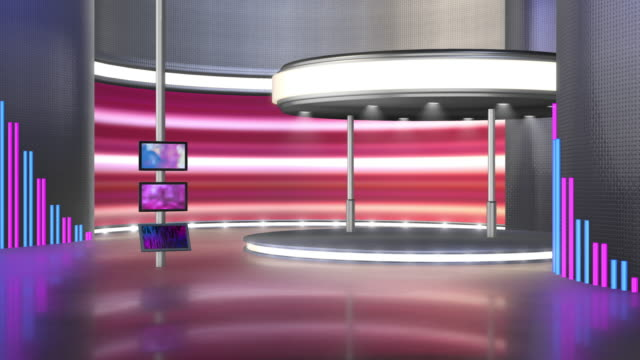 television studio, virtual studio set. ideal for green screen compositing. - tradeshow stock videos & royalty-free footage