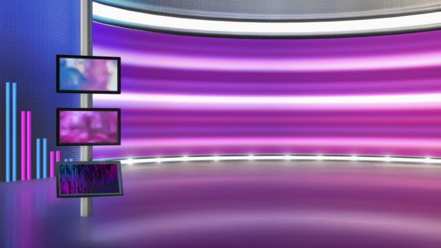 テレビスタジオ、バーチャルスタジオセット。グリーンスクリーンの合成に最適です。 - 撮影現場点の映像素材/bロール