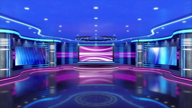 vídeos y material grabado en eventos de stock de estudio de televisión, estudio virtual. ideal para la composición de pantalla verde. - estudio de televisión