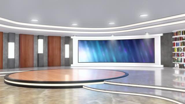 fernsehstudio, virtuelles studio-set. ideal für greenscreen compositing. - bildschirmwand stock-videos und b-roll-filmmaterial
