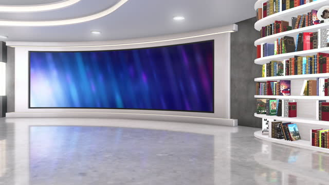 fernsehstudio, virtuelles studio-set. ideal für greenscreen compositing. - bücherregal stock-videos und b-roll-filmmaterial