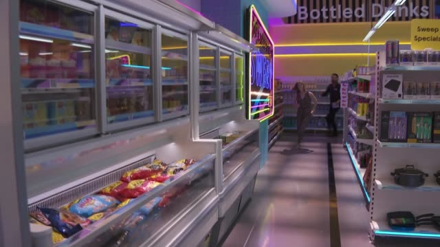 'supermarket sweep' rylan clarkneal interview england london int rylan clarkneal interview sot / set up shots with reporter on set of 'supermarket... - group of objects stock videos & royalty-free footage