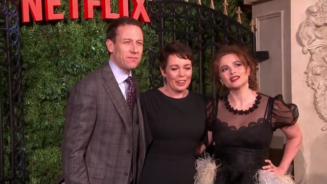 'the crown' josh o'connor and erin doherty interview england london mayfair tobias menzies olivia colman and helena bonham carter photocall on red... - real time stock videos & royalty-free footage