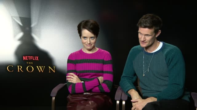 'The Crown' junket interviews ENGLAND London INT Claire Foy and Matt Smith interview SOT re Season 2 of 'The Crown'