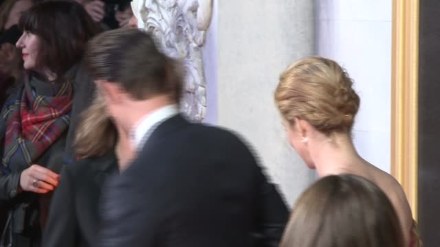 'The Crown' red carpet event Claire Foy posing for press on red carpet / Claire Foy and Matt Smith posing for press / Jared Harris as interviewed by...