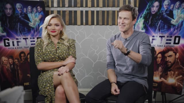 'The Gifted' junket interview ENGLAND London INT Natalie Alyn Lind and Stephen Moyer interview SOT part 1 of 3