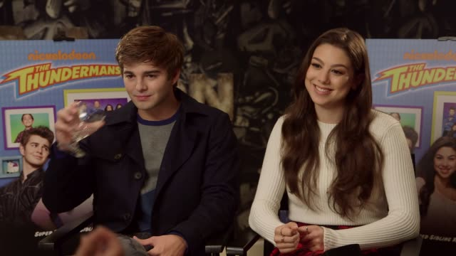 'the thundermans': junket interviews; england: london: int jack griffo and kira kosarin interview sot - re new season of nickelodeon tv series 'the... - nickelodeon stock videos & royalty-free footage