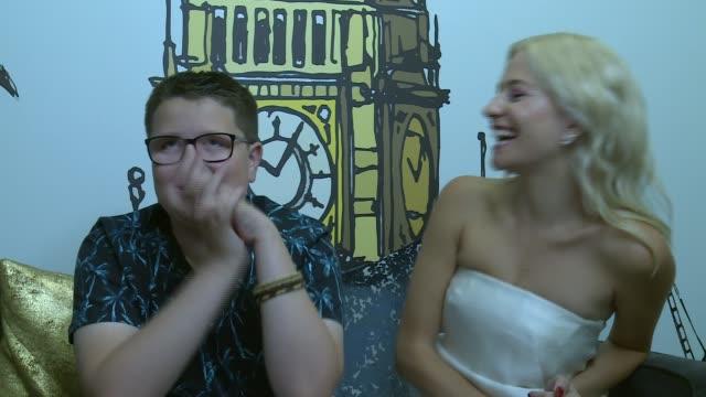 vidéos et rushes de 'the voice kids': winner daniel davis and mentor pixie lott interview; england: london: int daniel davis and pixie lott interview sot. - trip to... - pixie lott