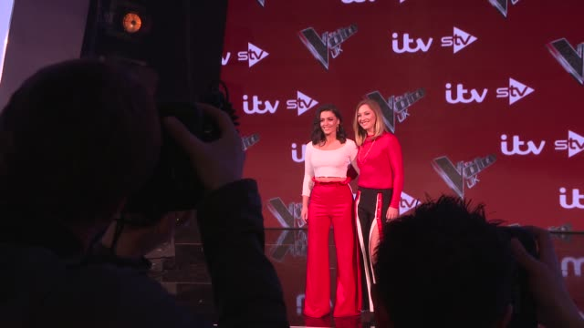 'the voice uk': final interviews with judges and contestants; england: london: int gvs 'the voice' set / belle voci photocall / lauren bannon / donel... - judge entertainment stock videos & royalty-free footage