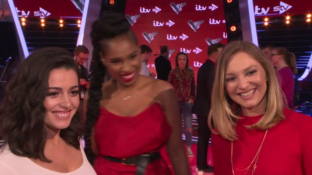 'the voice uk' final interviews with judges and contestants jennifer hudson and belle voci interview sot - jennifer hudson stock videos & royalty-free footage