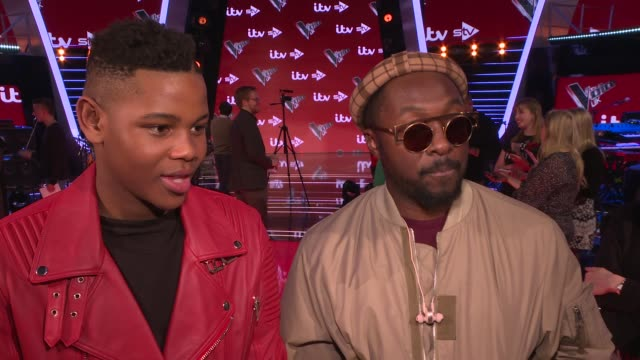 'the voice uk' final interviews with judges and contestants william and donel mangena interview sot - will.i.am stock videos and b-roll footage