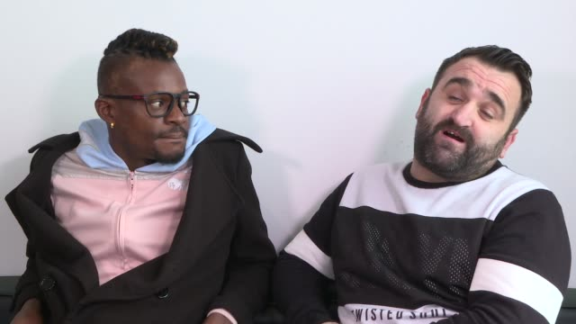 vídeos de stock, filmes e b-roll de 'the x factor' finalist interviews england london int olatunji yearwood danny tetley interview sot - finalist