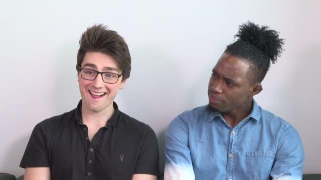 'the x factor' finalist interviews england london int brendan murray dalton andre harris interview sot - finalist stock videos and b-roll footage
