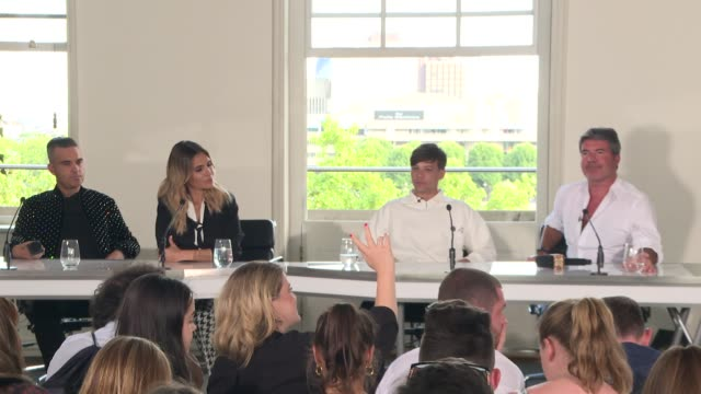 'The X Factor' New judges press conference ENGLAND London INT **Microphone's not working properly in parts** Louis Tomlinson Robbie Williams Anya...