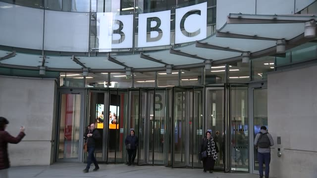 tony hall to step down as bbc director general; england: london: ext gv bbc new broadcasting house entrance and 'bbc' sign - bbc stock videos & royalty-free footage