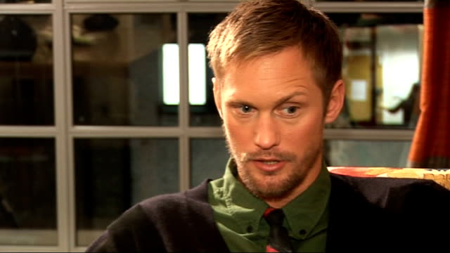 'True Blood' Forbes and Skarsgard interviews Talks of role where he was singing / compares 'Twilight' with 'True Blood' Alexander Skarsgard sitting...