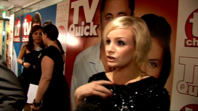vídeos y material grabado en eventos de stock de quick and tv choice awards: celebrity interviews; lauren crace interview sot - on dressing for the event, leaving eastenders, amazing storyline, how... - telenovela