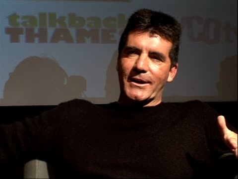 """factor judges and hosts; cheryl cole and simon cowell interview sot - talks about the new series of the """"x-factor"""" - the x factor stock videos & royalty-free footage"""