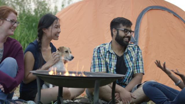 telling stories around the campfire - panning stock videos & royalty-free footage