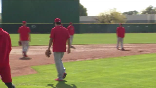 ktla – tempe az us angels baseball players during training at tempe diablo stadium at tempe diablo stadium on wednesday february 19 2020 - spring training stock videos & royalty-free footage