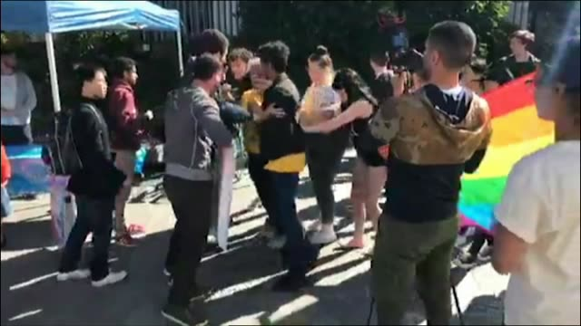 Tempers have flared over the same sex marriage postal survey at Sydney University this afternoon Police were called in after a group rallying in...