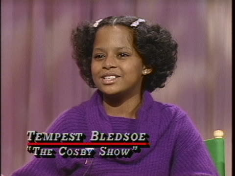 """tempestt bledsoe, who plays vanessa huxtable on """"the cosby show"""", describes her experience working with bill cosby. - malcolm jamal warner stock videos & royalty-free footage"""