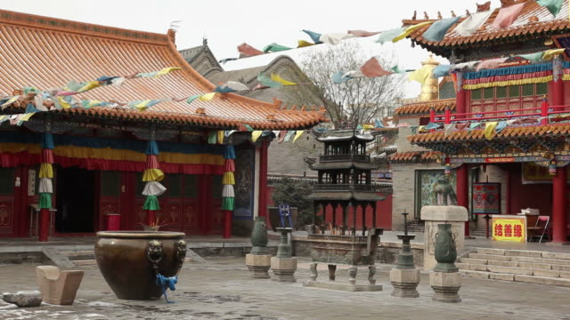 ws temple courtyard / hohhot, inner mongolia, china - buddhism stock videos & royalty-free footage