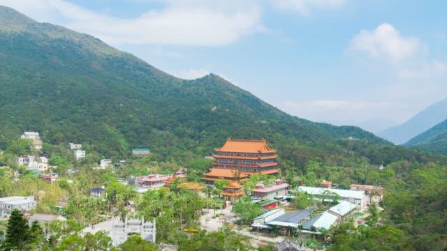stockvideo's en b-roll-footage met 4k tl: tempel in de bergen hong kong stad. - hong kong