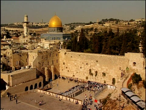 temple mount including dome of the rock and wailing wall jerusalem - gerusalemme est video stock e b–roll
