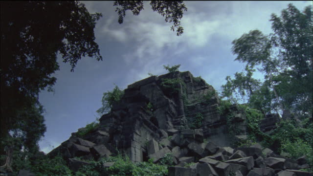 t/l ws la temple mountain and clouds, vietnam - temple building stock videos & royalty-free footage